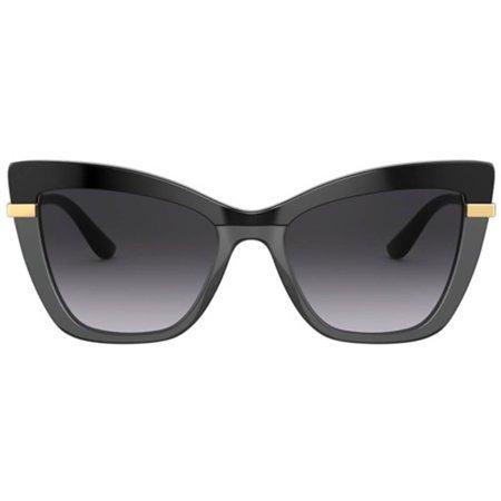 Dolce & Gabbana okulary przeciwsłoneczne grafitowe ze złotymi zausznikami, kocie oczy