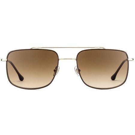 Gigi Barcelona złote okulary przeciwsłoneczne z podwójnym mostkiem i kwadratowymi soczewkami