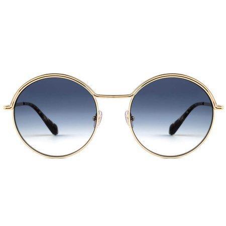 Gigi Studios okulary przeciwsłoneczne okrągłe, z podkreśloną górną ramką i cieniowanymi szkłami