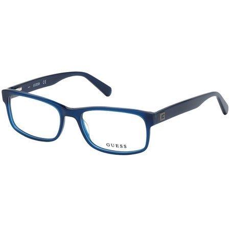 Guess męskie prostokątne okulary w kolorze niebieskim GU 1993 090