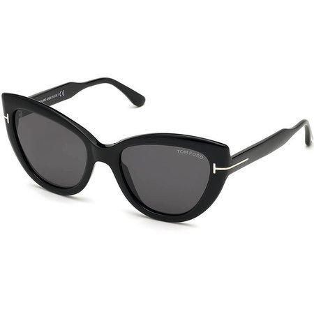 Tom Ford klasyczne czarne okulary przeciwsłoneczne w kształcie kocich oczu